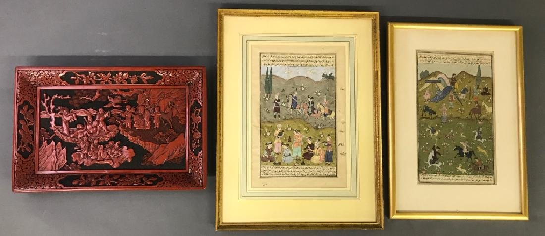 Two Persian Watercolors & Cinnabar Tray