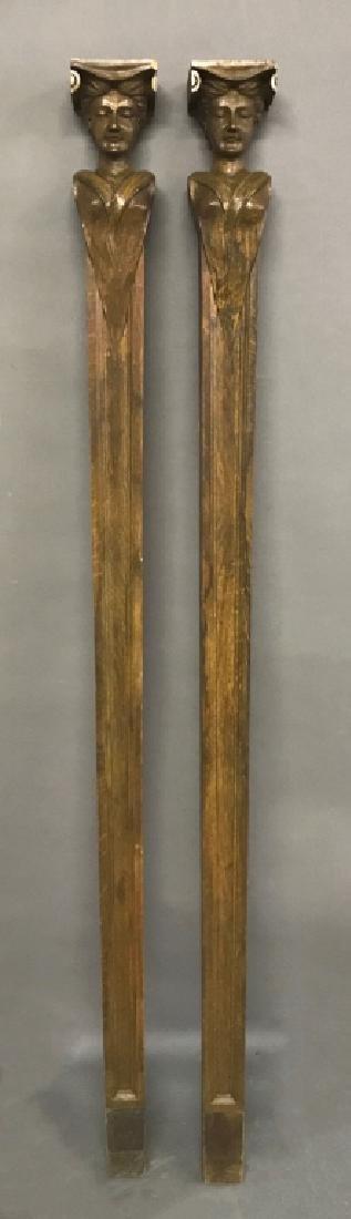 Pair of Carved Walnut Caryatids