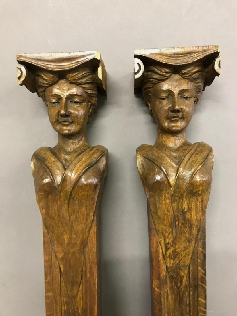 Pair of Carved Walnut Caryatids - 2