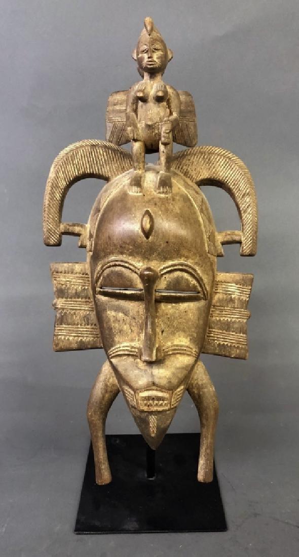 Senufo Tribe Mask with Calao Bird & Female Figure