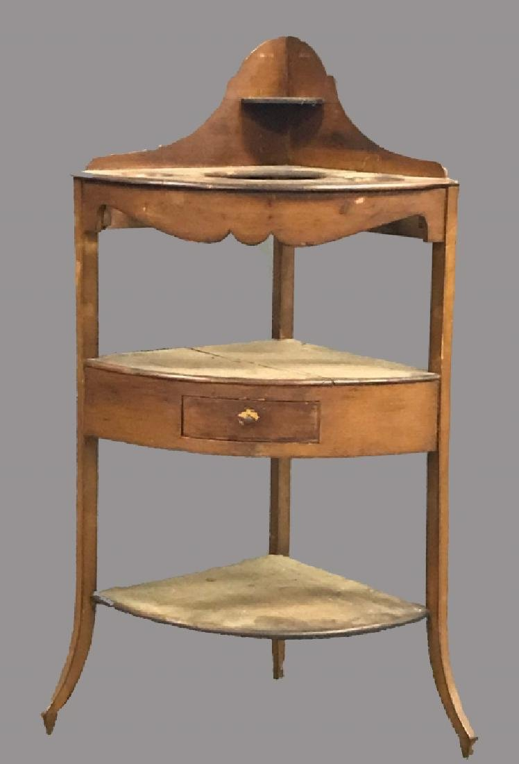 Georgian Mahogany Corner Wash Basin Table