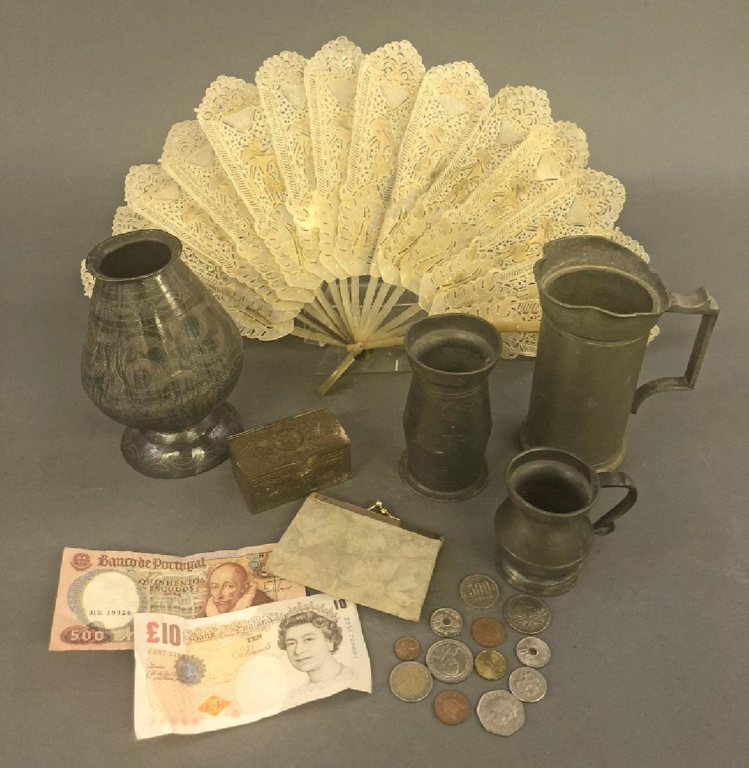 Three Pewter Measures, Hand Fan, etc.