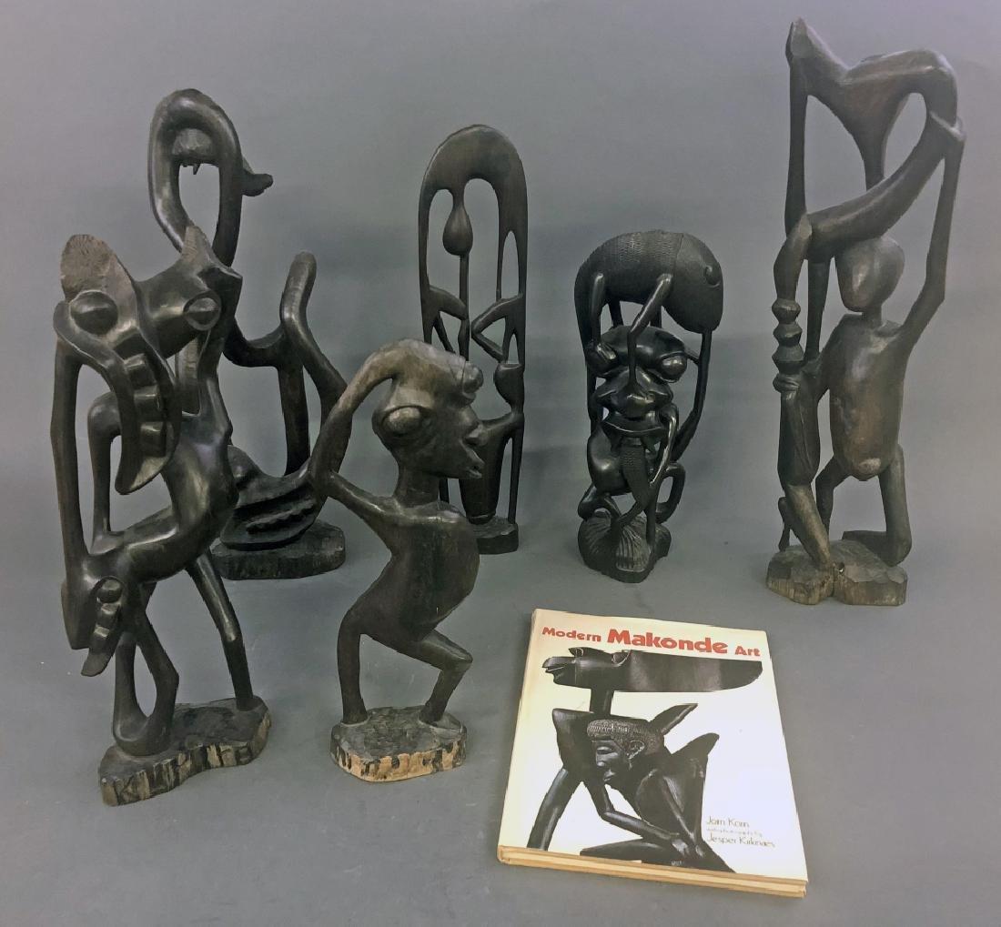 Six Makonde Shetani Carvings and Book