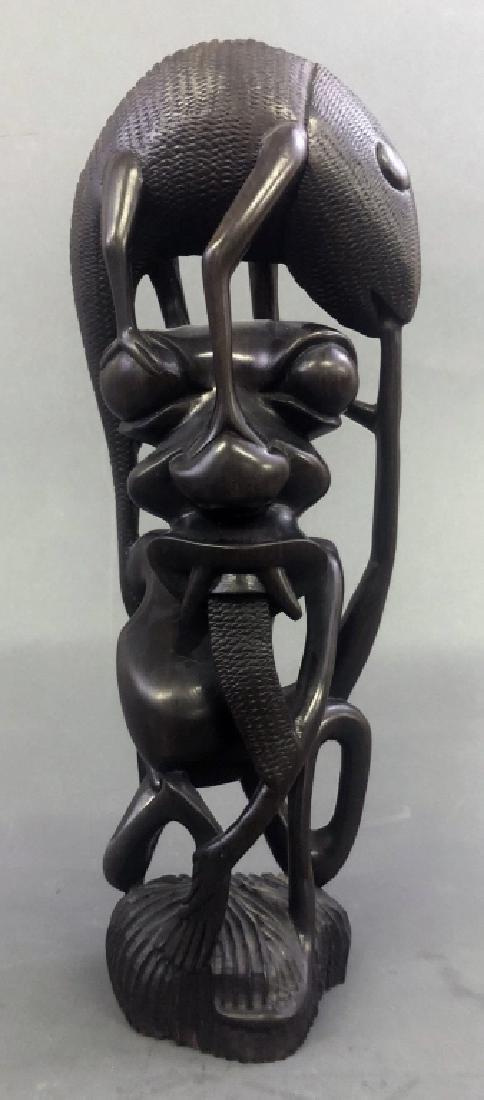 Six Makonde Shetani Carvings and Book - 3