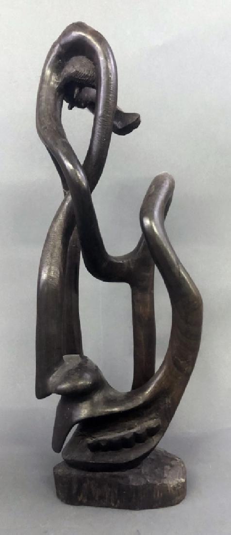 Six Makonde Shetani Carvings and Book - 4