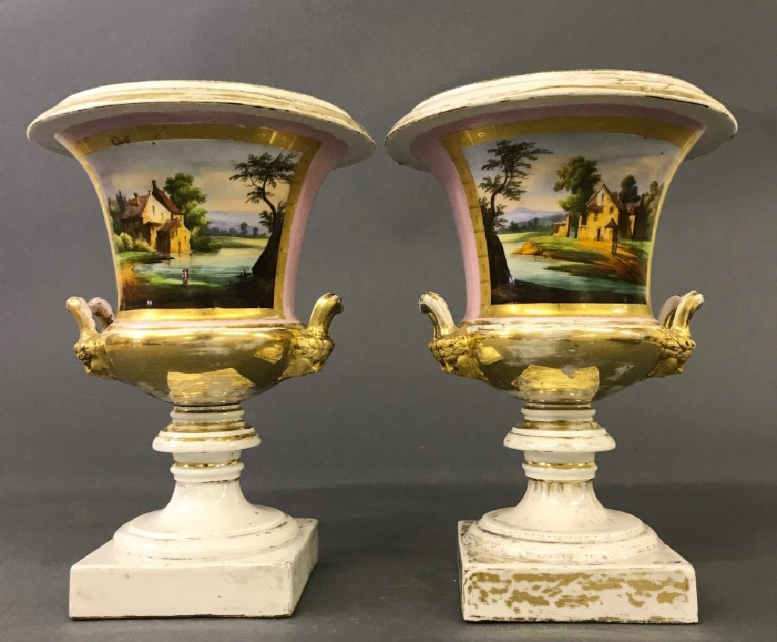 Pair of Paris Porcelain Urns