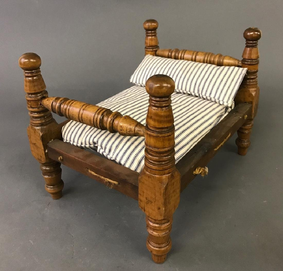 Tiger Maple Doll Rope Bed