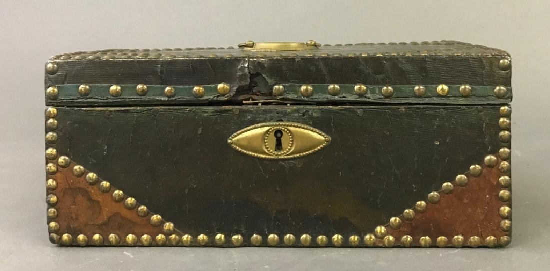 Leather and Studded Brass Document Box