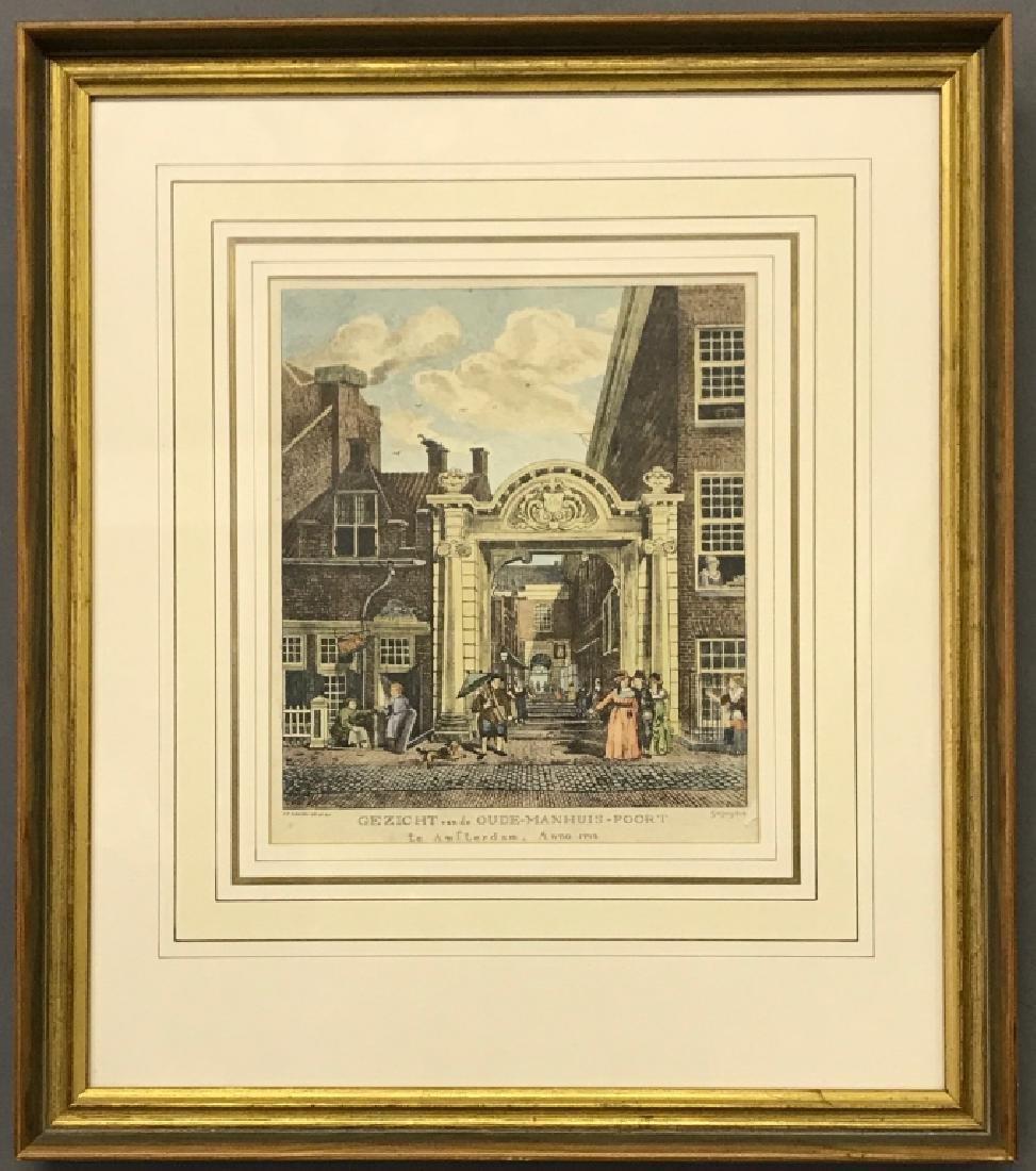 """Engraving """"Gezicht van de Oude-Manhuis-Poort"""""""