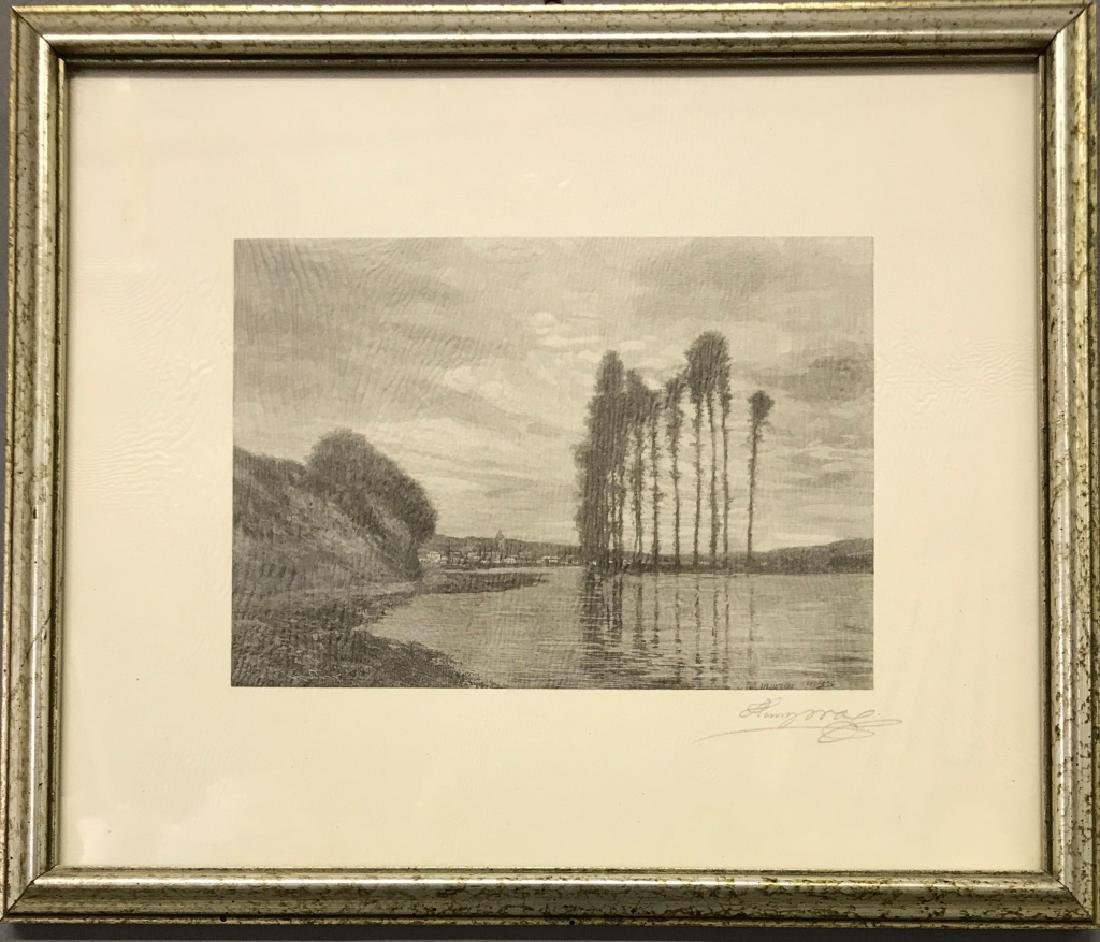 """Henry Wolf Signed Engraving """"View of the Siene"""""""