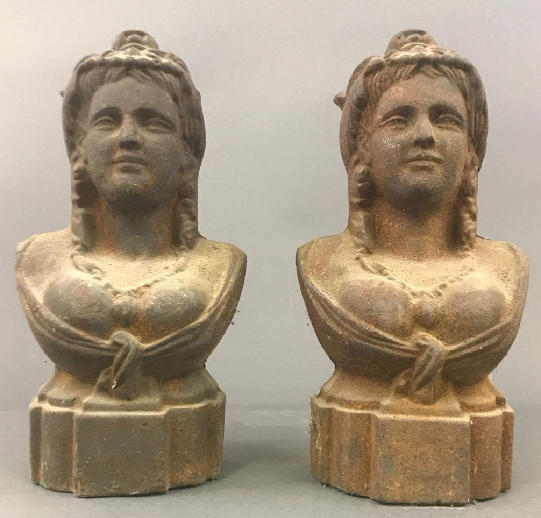 Pair of Victorian Cast Iron Fence Post Busts