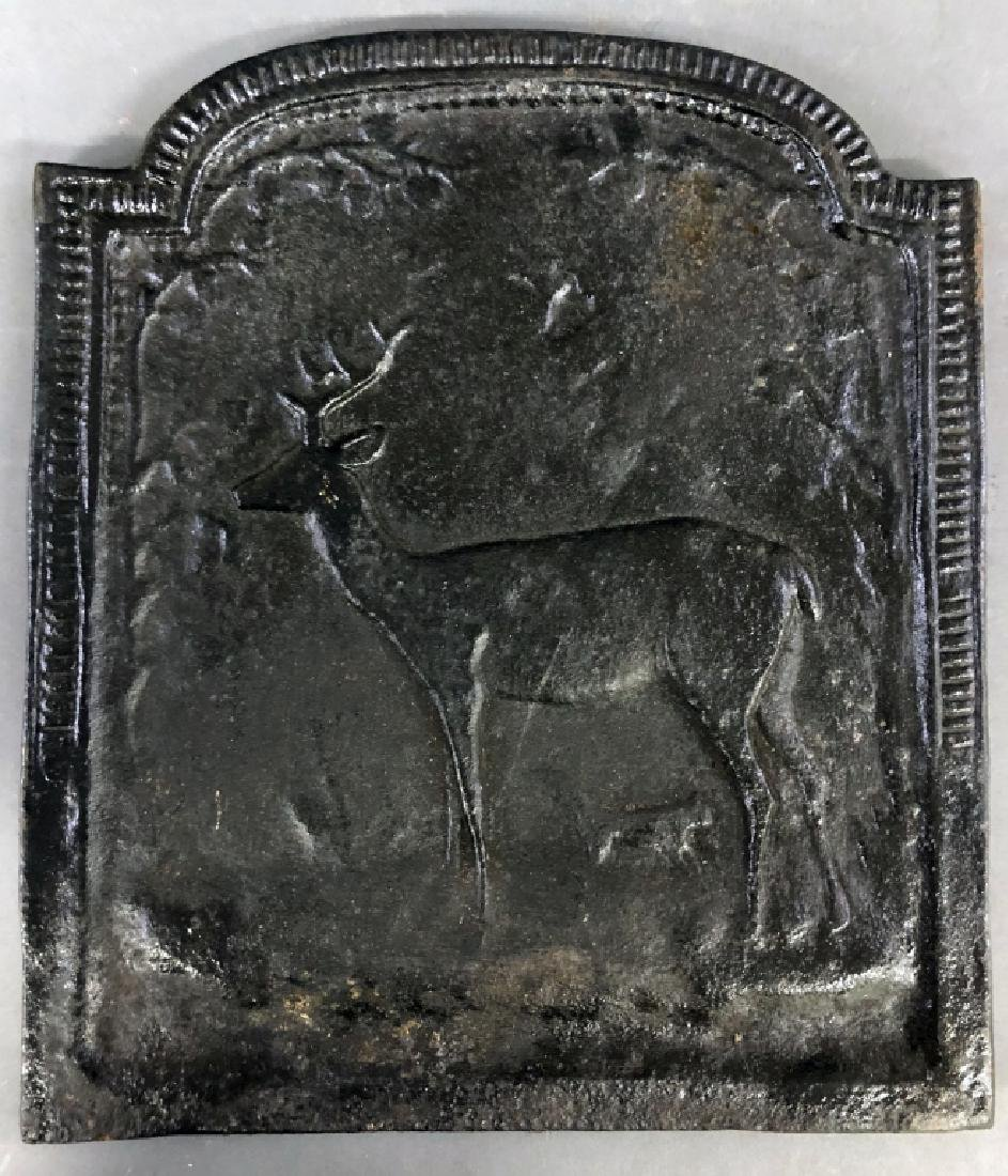 Cast Iron Stove Plate with Standing Stag