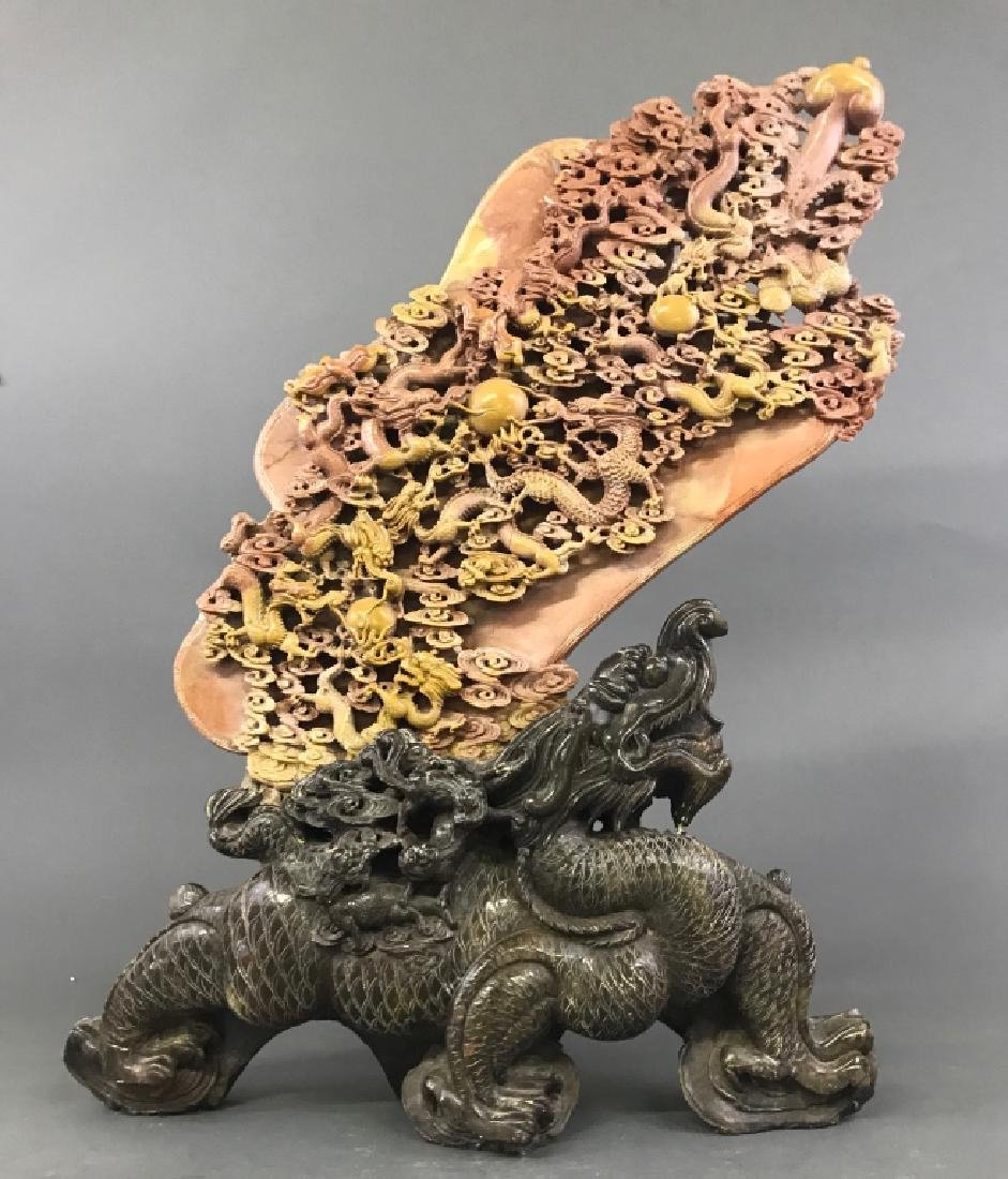 Fine Chinese Soapstone Boulder with Carved Dragons