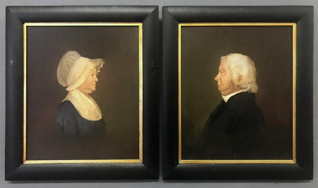 Pair of Oil Portraits of a Husband and Wife