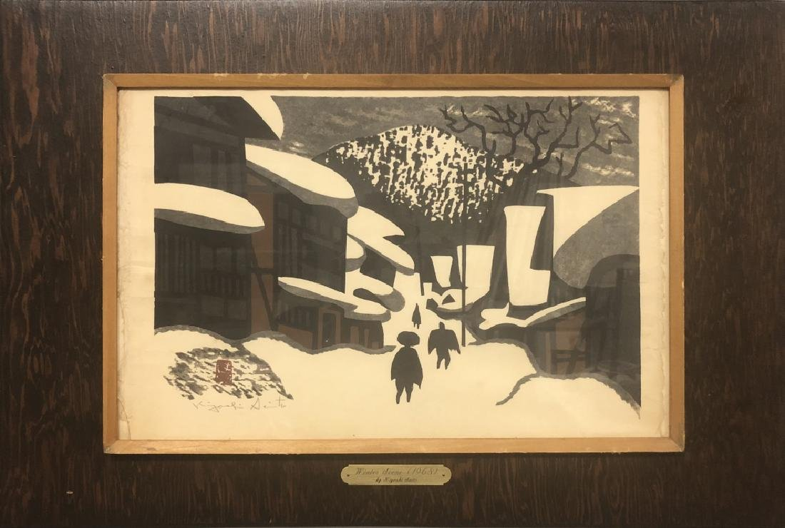 "Kiyoshi Saito Signed Wood Block ""Winter Scene"""