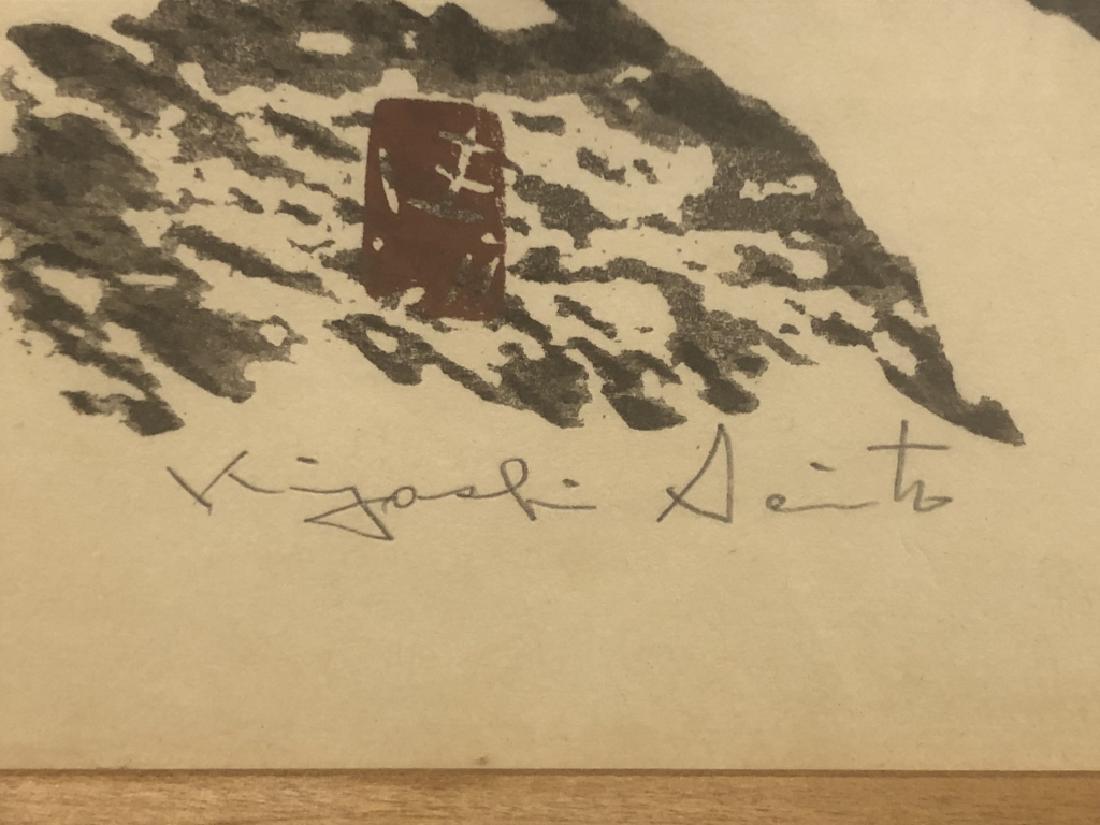 "Kiyoshi Saito Signed Wood Block ""Winter Scene"" - 4"