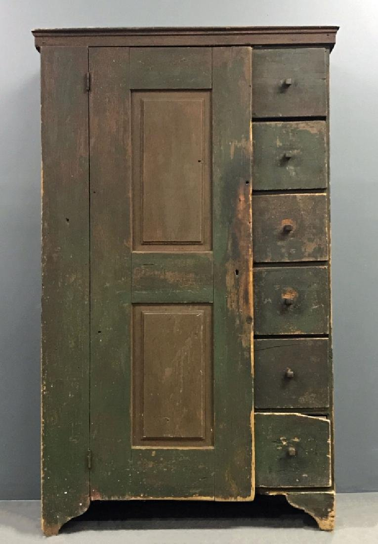 Primitive Painted Pine Cupboard