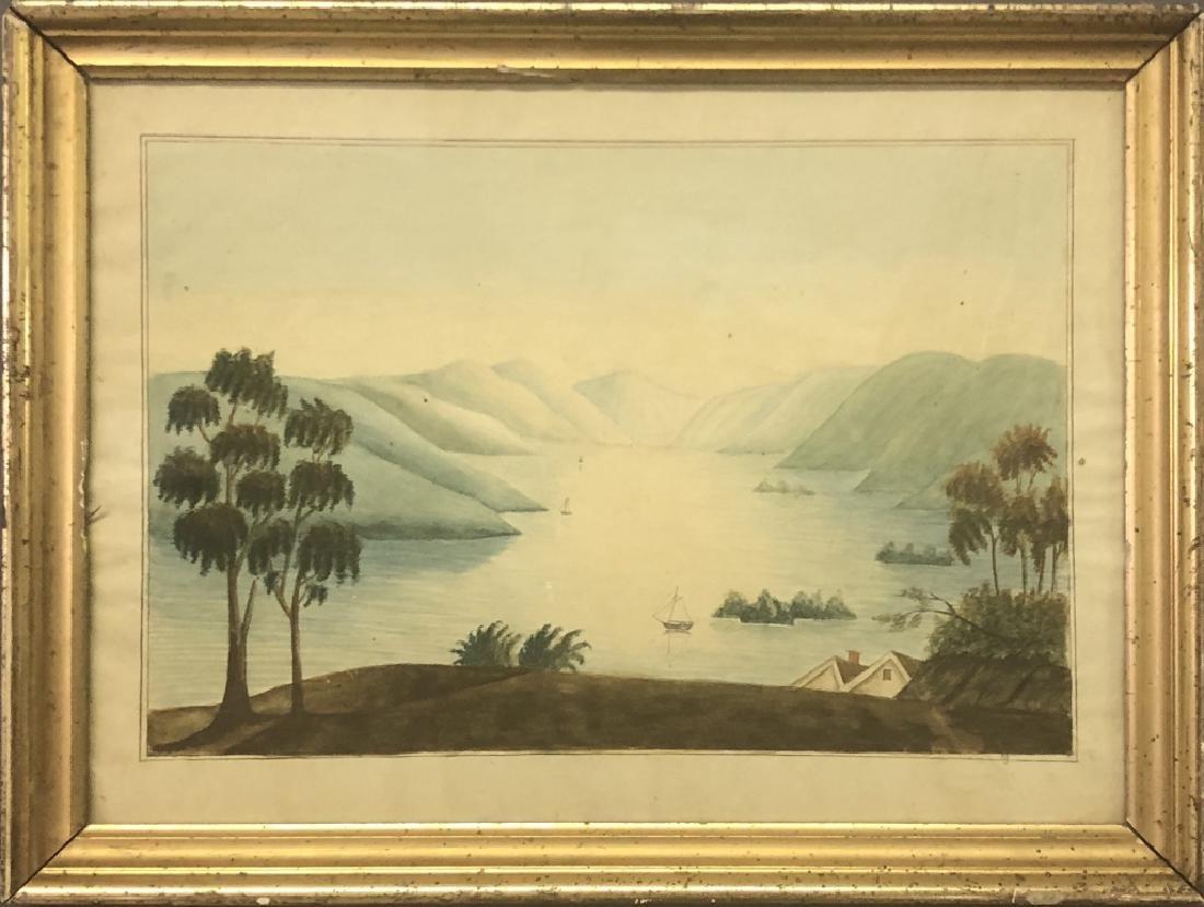 Hudson Valley Watercolor of Sailboats