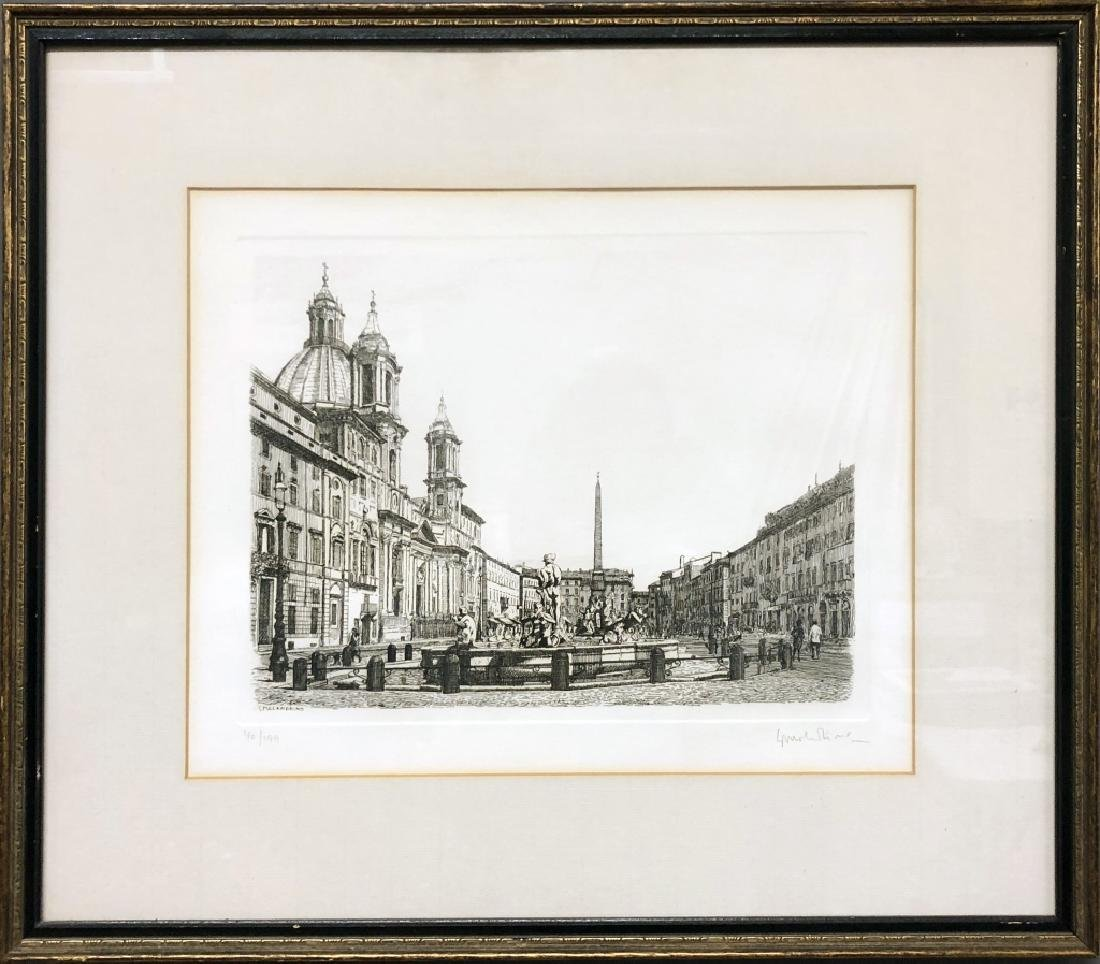 Malandrino Signed Etching of Piazza Navona, Rome