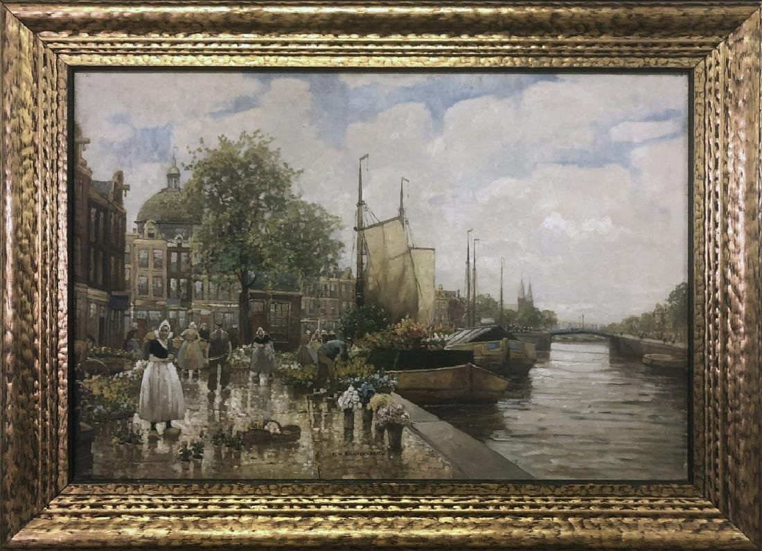"Richter-Reich Oil ""Flower Market, Holland"""
