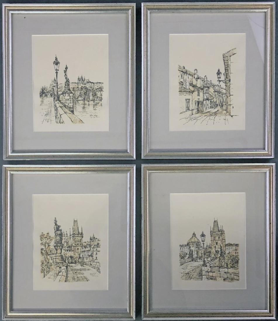 Four Pen and Ink Drawings of Prague