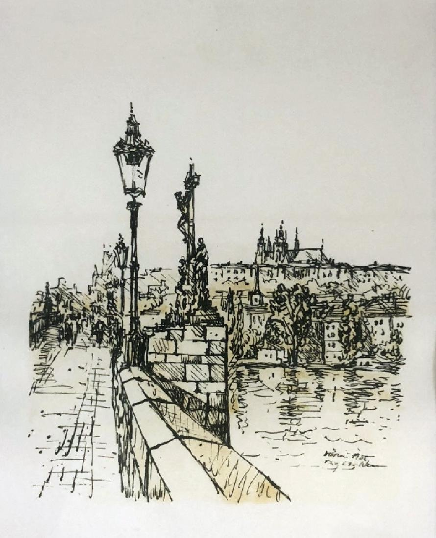 Four Pen and Ink Drawings of Prague - 2