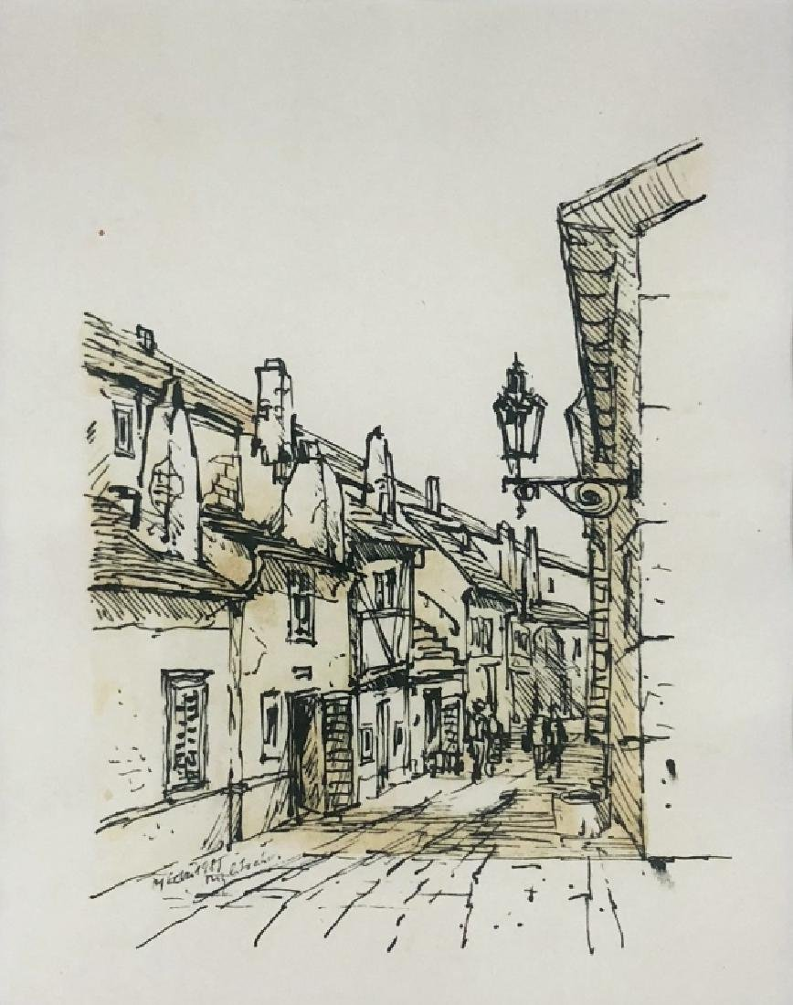 Four Pen and Ink Drawings of Prague - 4