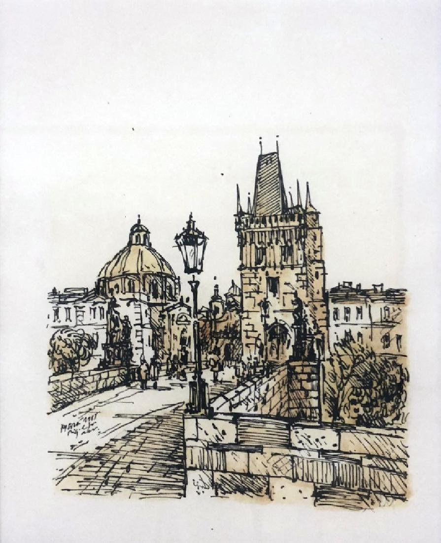 Four Pen and Ink Drawings of Prague - 8
