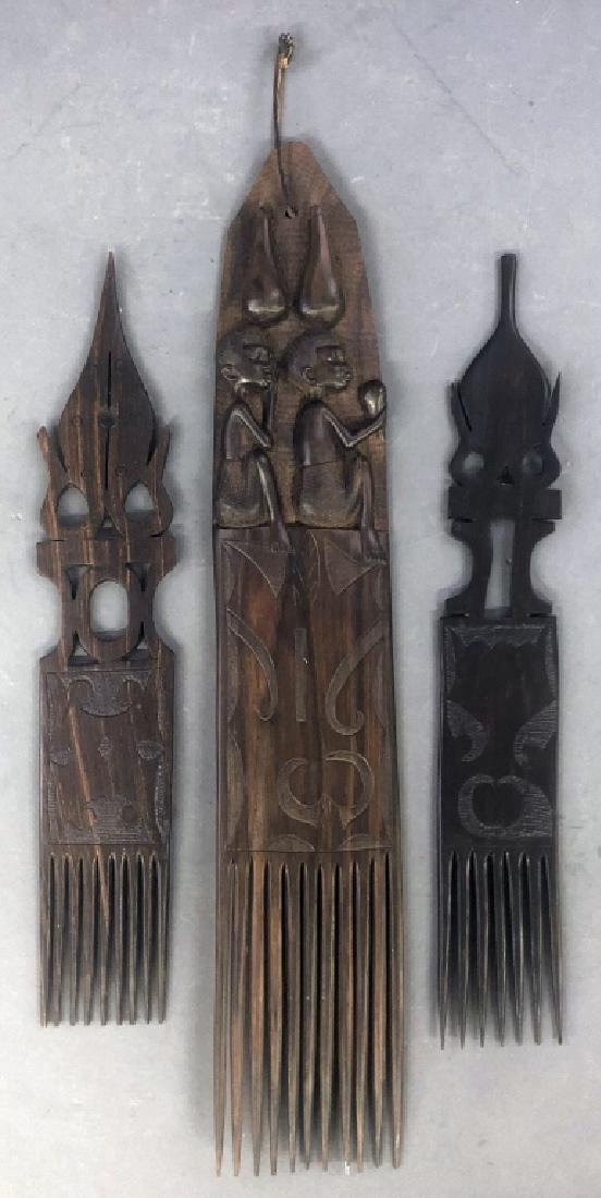 Three West African Decorative Wood Carved Combs