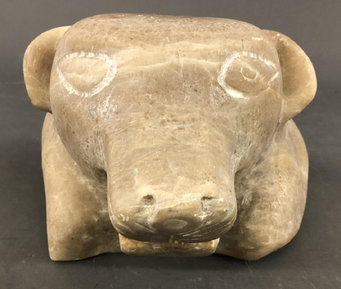 Alabaster Carved Leopard Head - 2