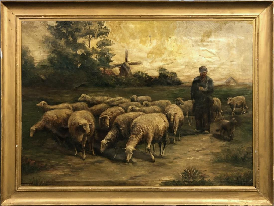 Extra Large Oil on Canvas of a Shepherd and Flock