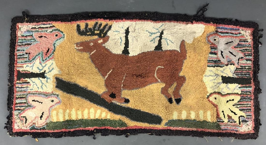 Pictorial Hooked Rug of a Running Stag