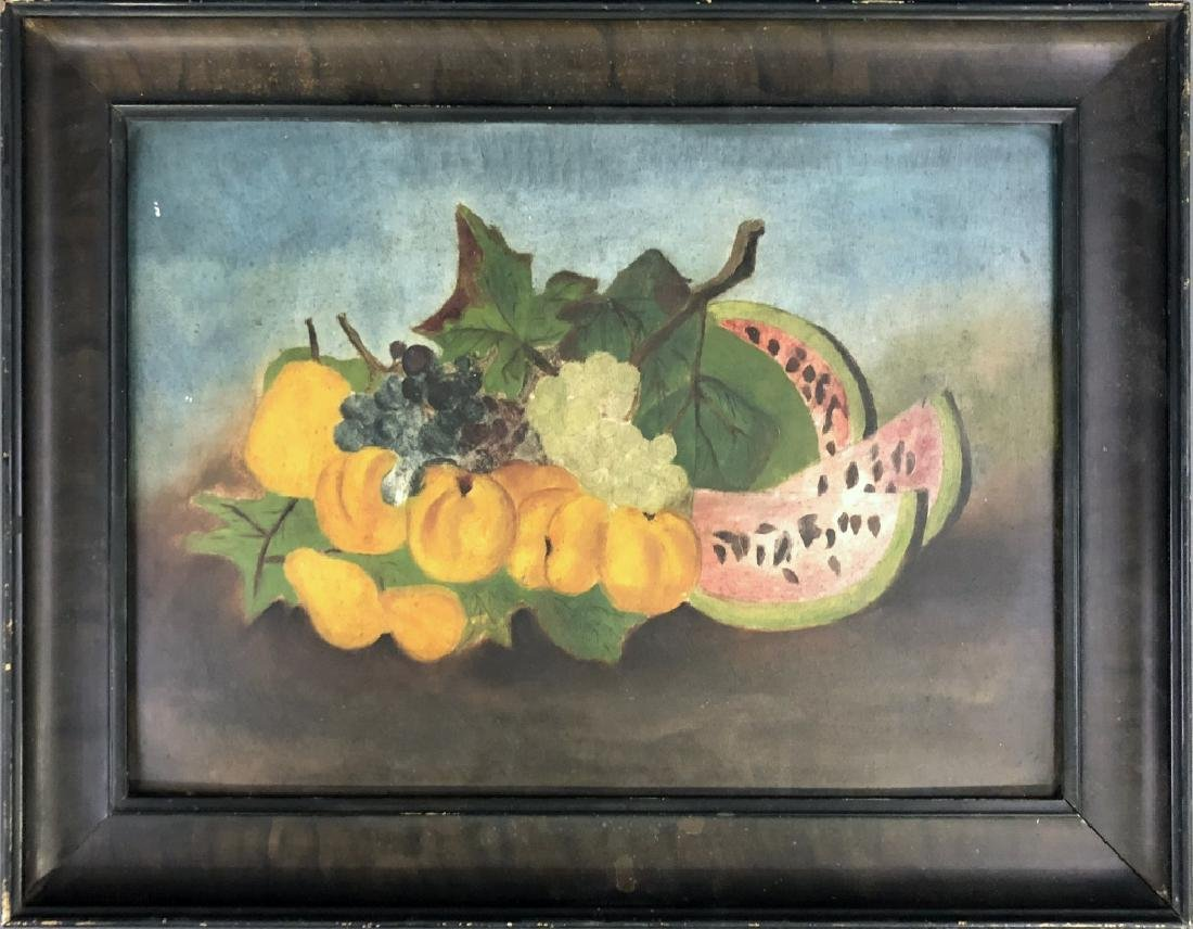 Oil Still Life of Fruit with Two Prints - 2