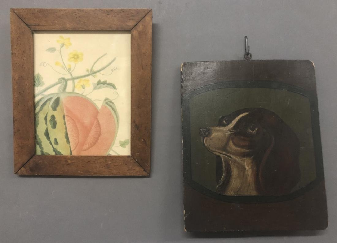 Oil on Panel of a Spaniel & Watercolor of a Melon