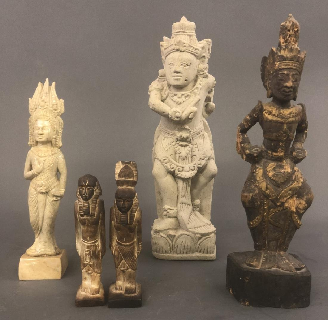 Five Asian and Egyptian Carved Figures