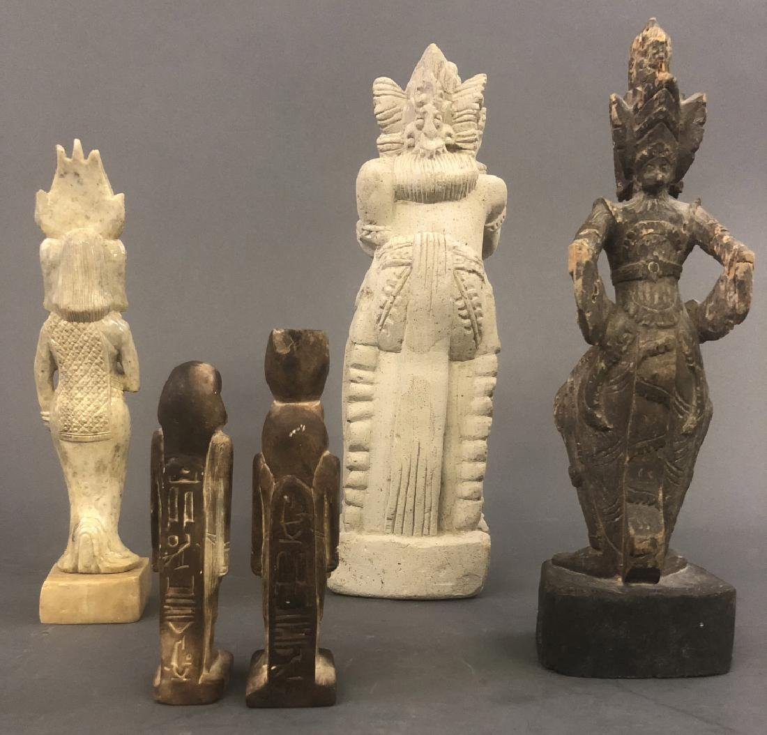 Five Asian and Egyptian Carved Figures - 2