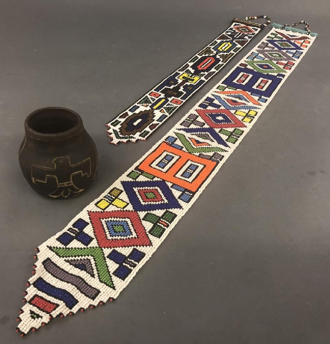 Indigenous American Pot and Beaded Wall Hangings