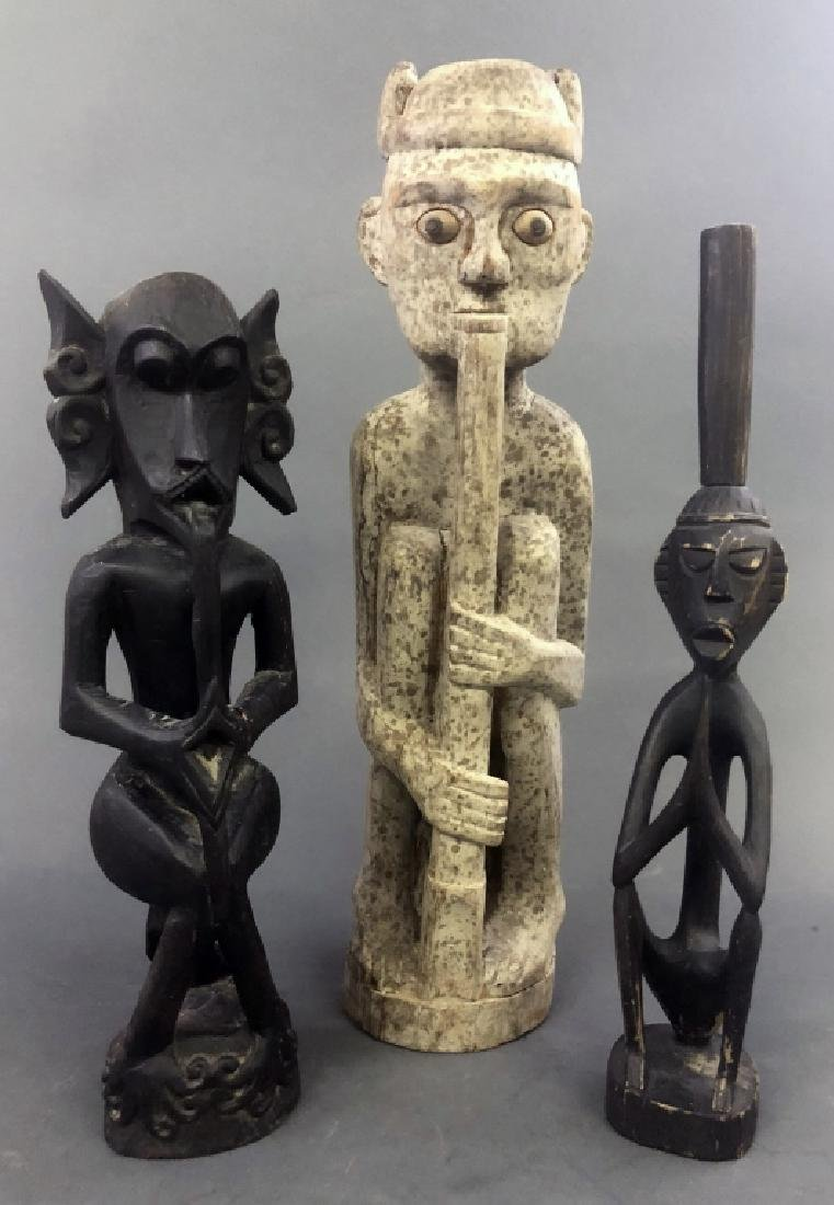 Three Primitive Art Wood Carved Figures