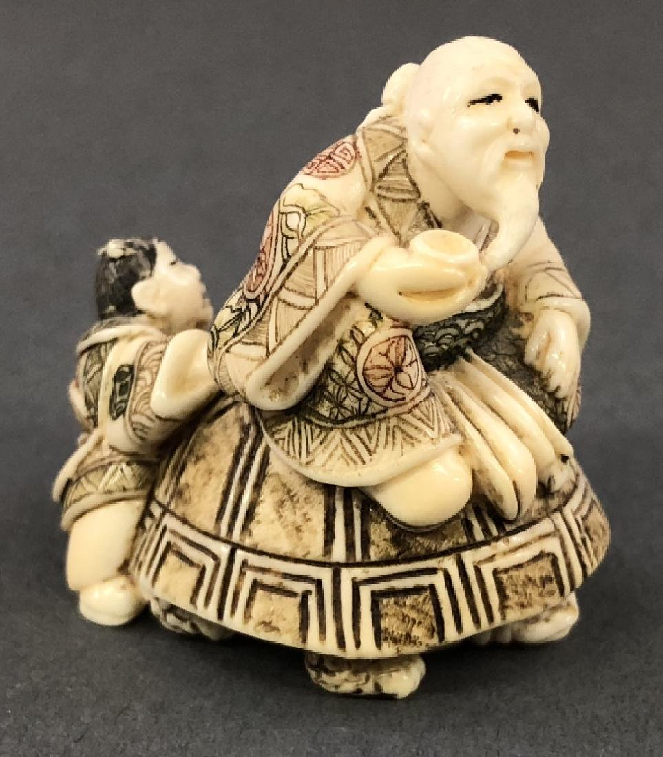 Three Signed Netsuke and Six Small Figures - 3