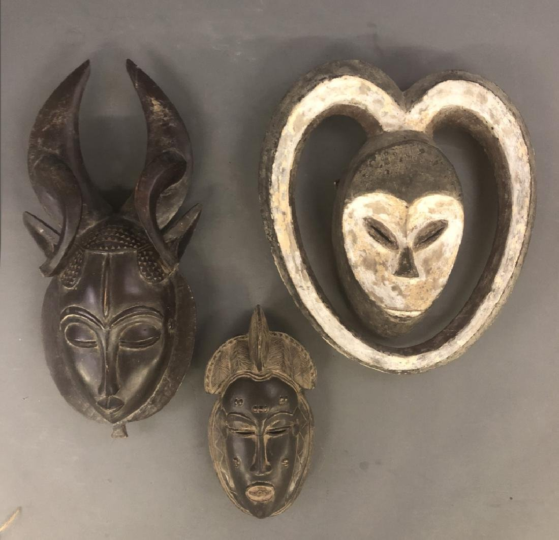 Three African Wood Carved Masks