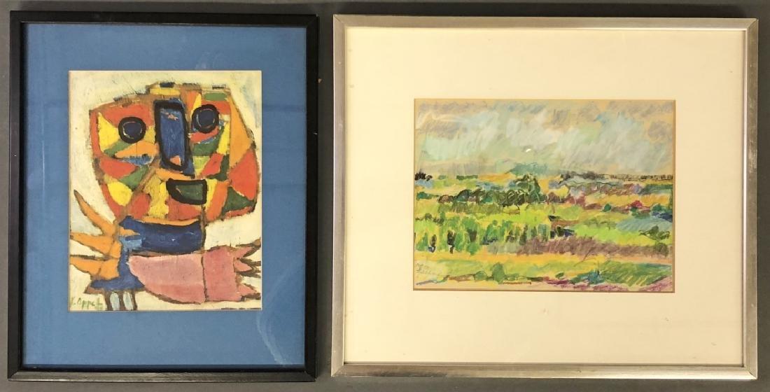 Karel Appel Print and Fran Lackman Drawing