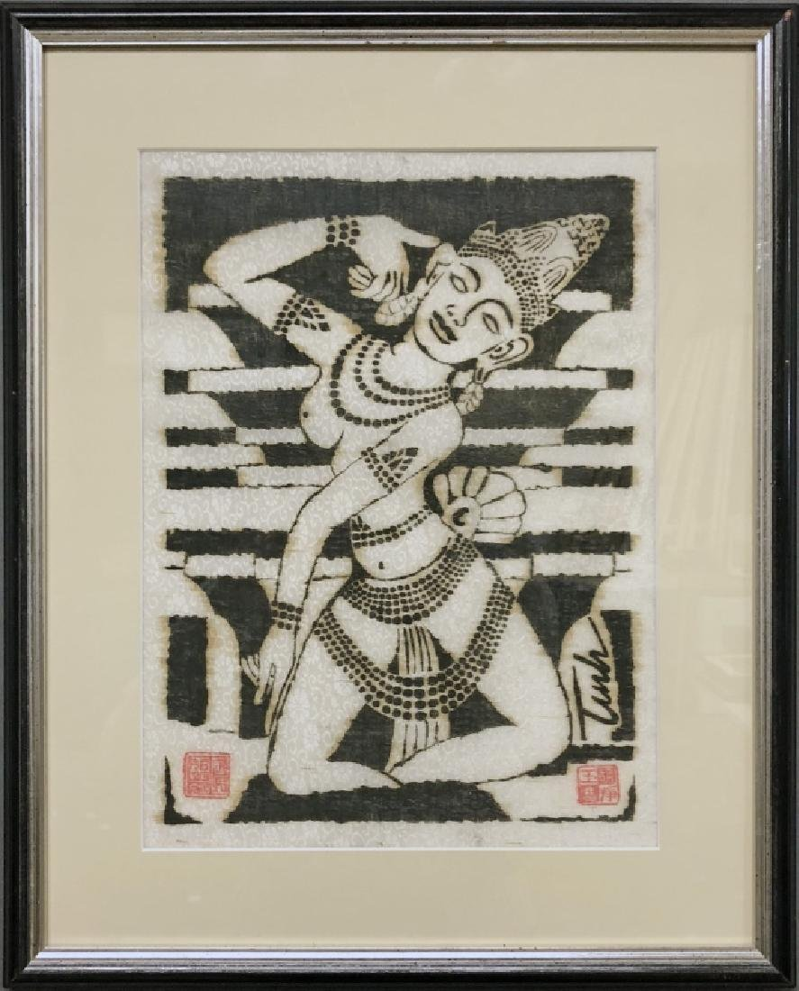 Woodcut on Fabric of an Asian Female Dancer