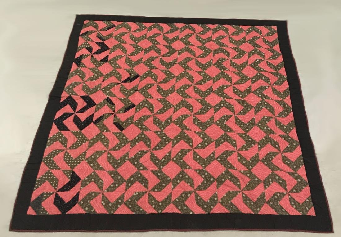 Red and Brown / Black Pieced Quilt