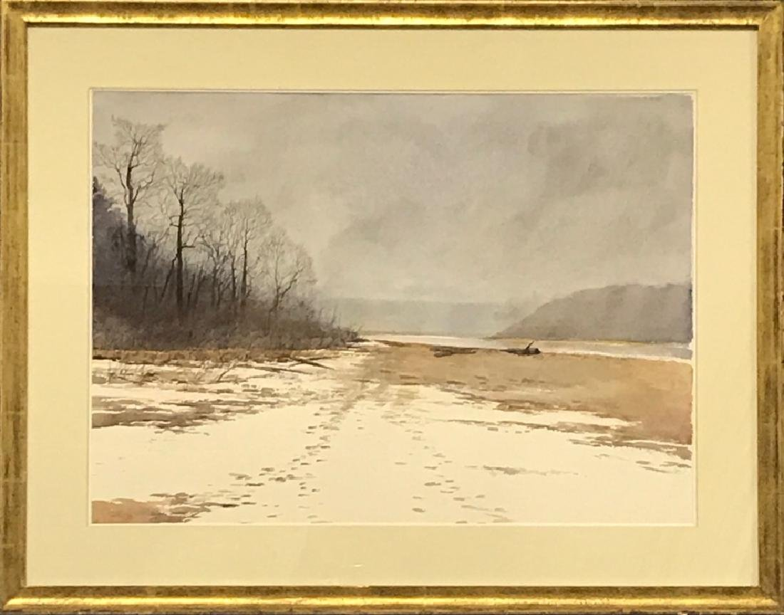Framed and Matted Watercolor: Springton Reservoir
