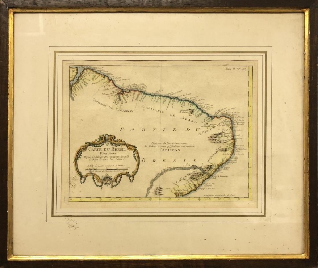 Large French Engraving of a Map of Brazil