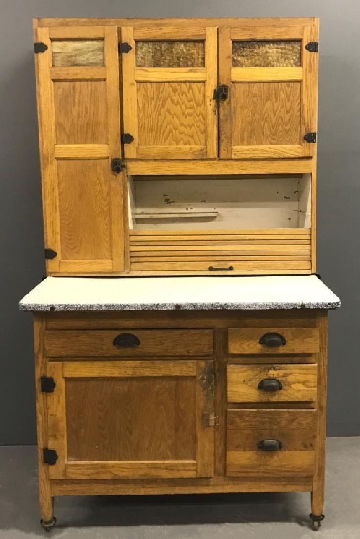 Oak Two-Part Hoosier Cabinet
