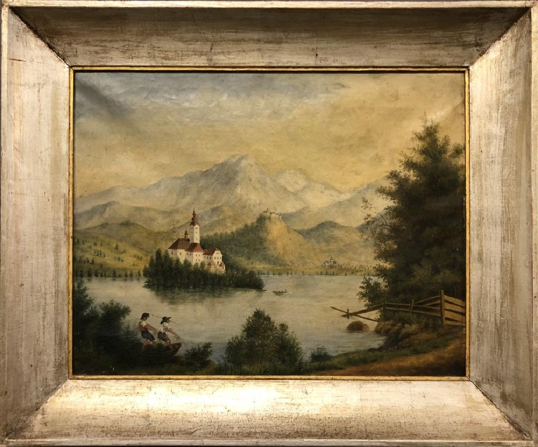 Oil on Canvas Continental Lake Scene