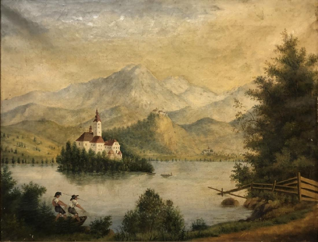 Oil on Canvas Continental Lake Scene - 2