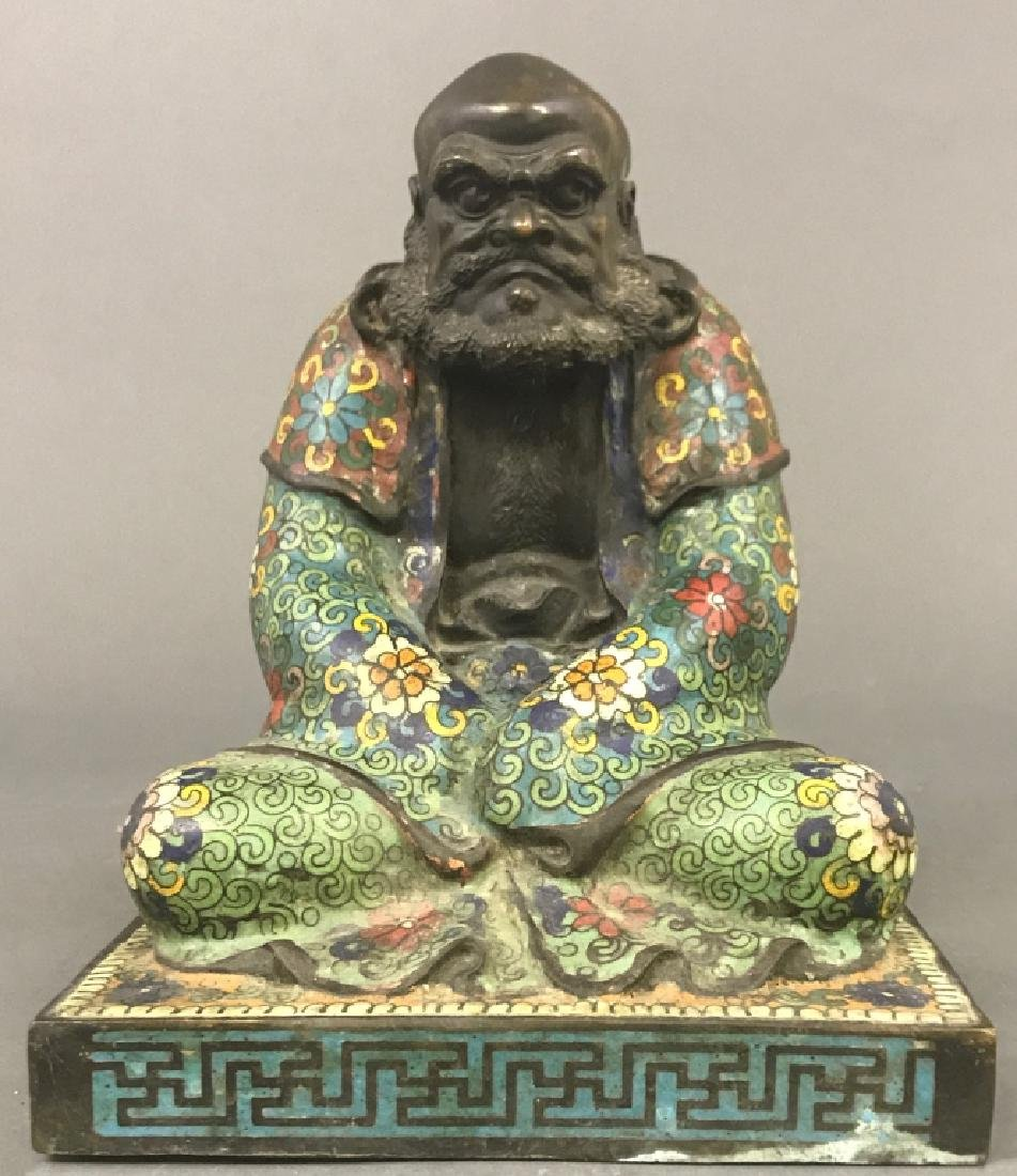 Chinese Champlevé Bronze Statue