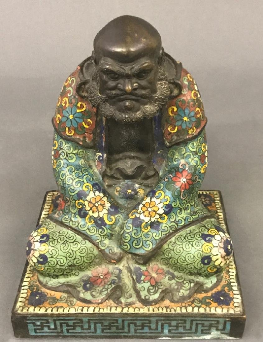 Chinese Champlevé Bronze Statue - 2